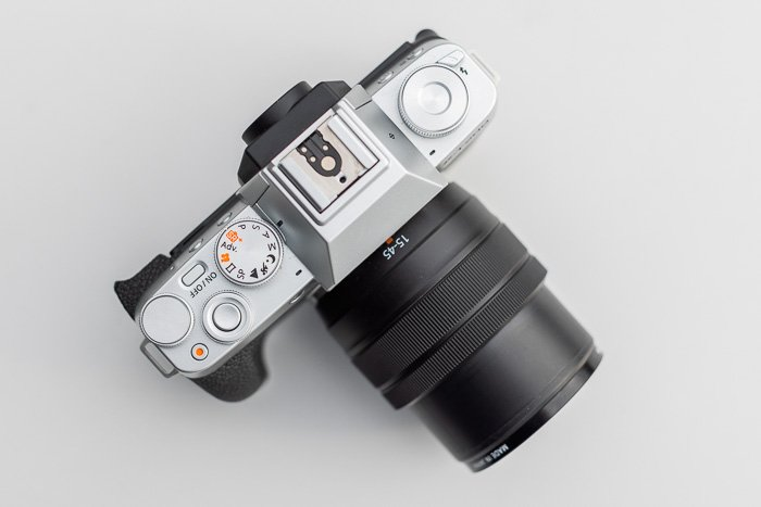 Image of the Fujifilm X-T200 mirrorless cameras from top