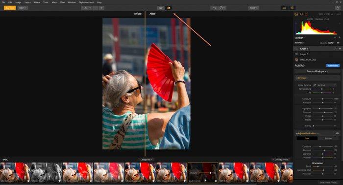 a screenshot of the skylum luminar interface featuring an old woman holding a red hand fan