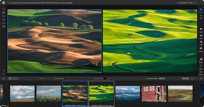 a screenshot of the on1 editing software interface featuring rolling hills in beige and green