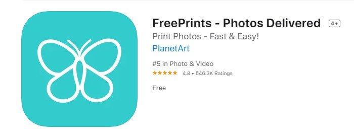 a screenshot of freeprints photo print app
