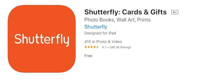 a screenshot of shutterfly printing app from the iOS App Store