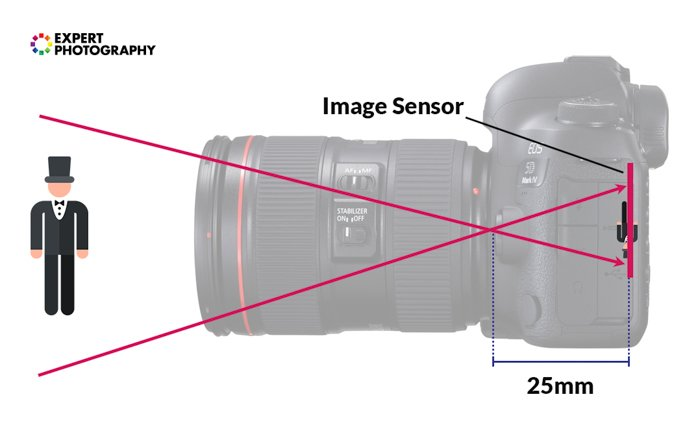 an infographic explaining 25mm of focal length