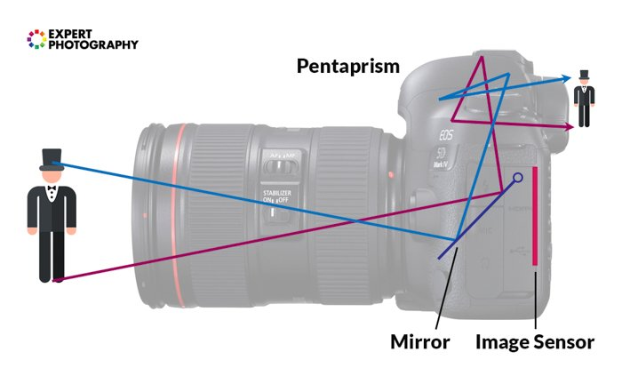 an infographic explaining how an image is flipped by the pentaprism