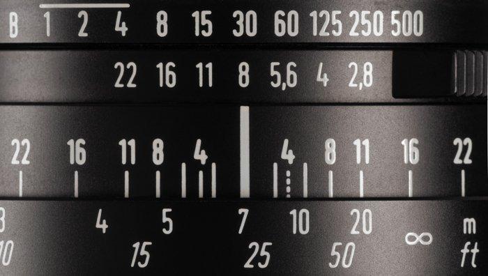 a closeup image of depth of field indicators