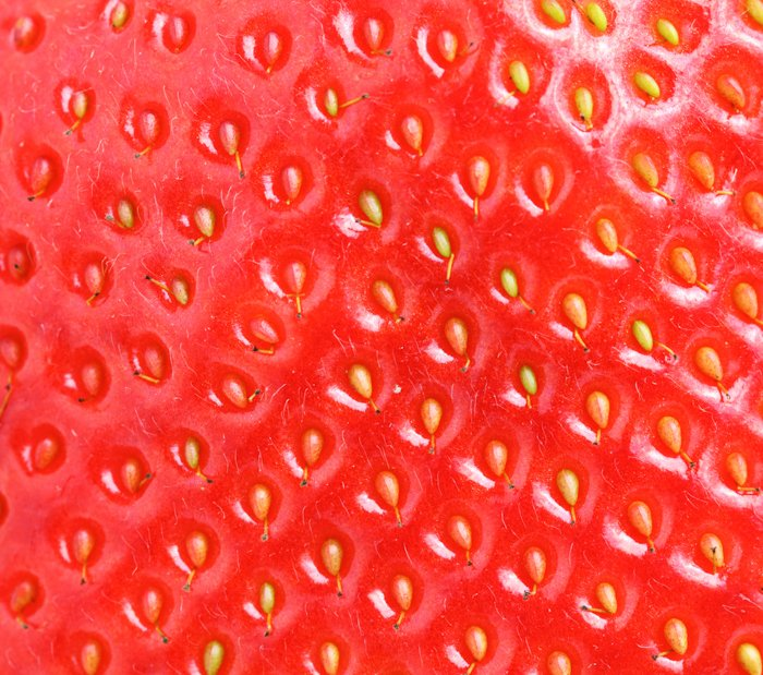 a macro image of strawberry texture