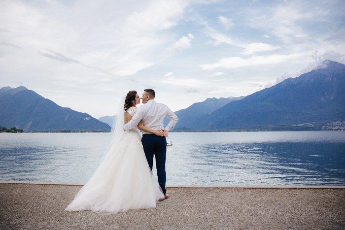 Outdoor wedding portrait of the happy couple