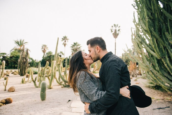 Outdoor portrait of a kissing couple