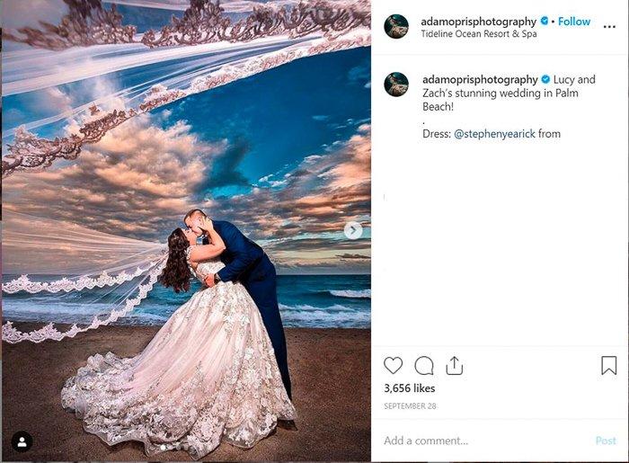 Screenshot of a wedding portrait on Instagram