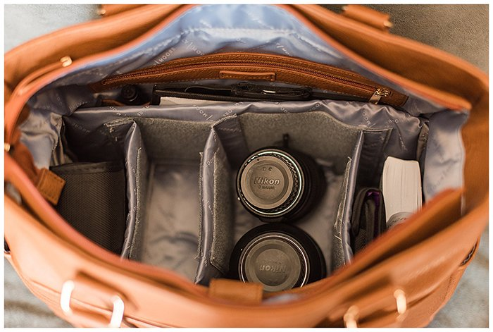 Photography of the Kelly Moore Libby 2 Bag's interior.