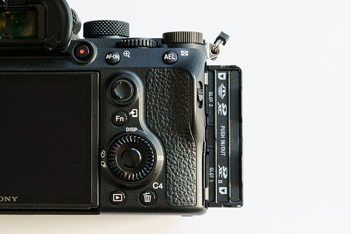 An image of the Sony A7 III camera's SD card slot