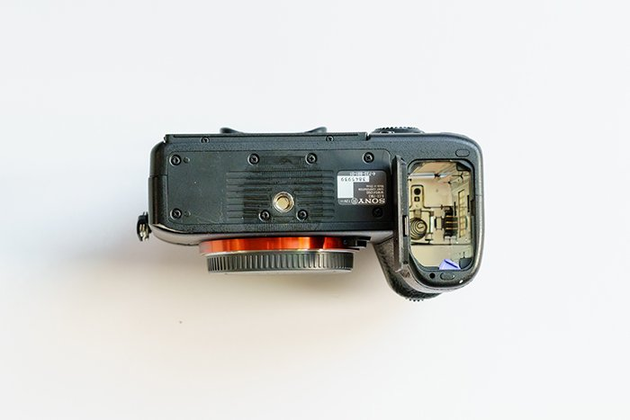 An image of Sony A7 III camera's battery compartment