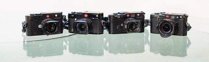 Collection of Leica cameras. Leica M10, Leica M240, Leica M6