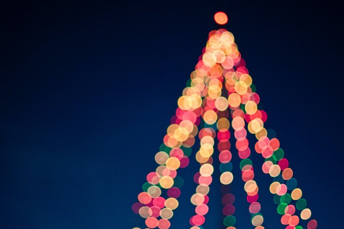 Bokeh lights in the shape of a Christmas tree