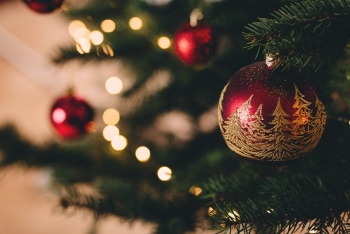 Christmas ornaments and lights on a tree