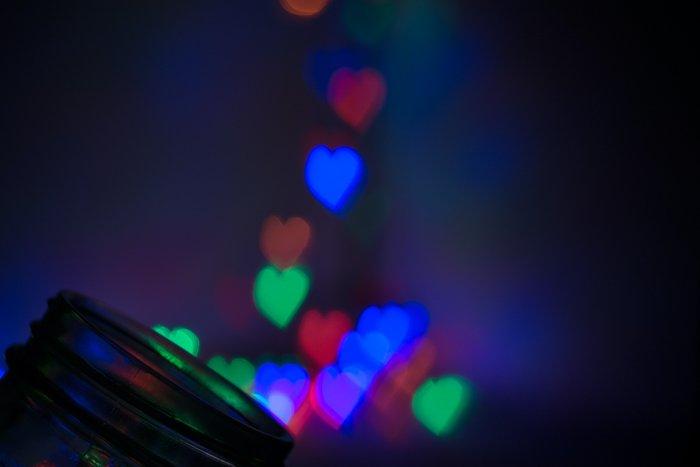 heart shaped bokeh lights