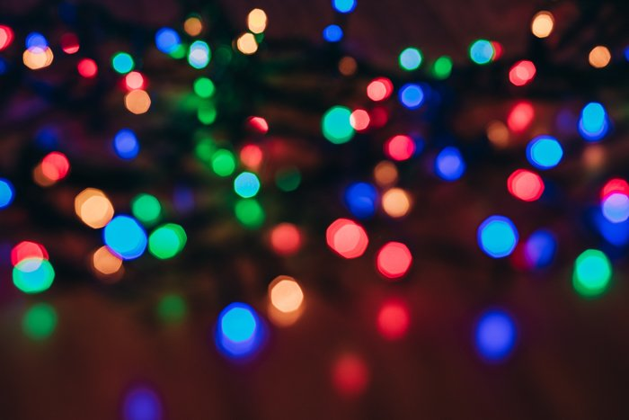 Colorful bokeh Christmas lights