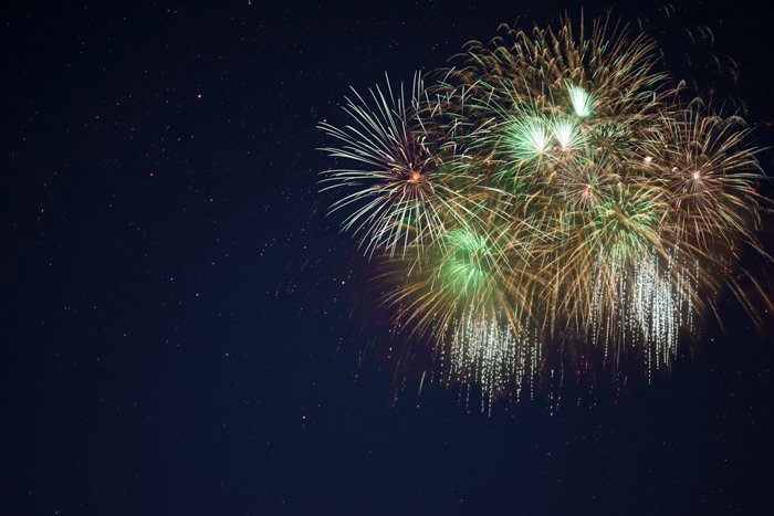 Colored fireworks exploding in the night sky