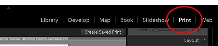 screenshot of lightroom UI with Print module
