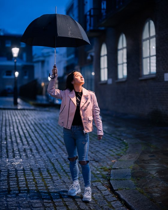Portrait image of a girl with umbrella taken with the Canon RF 50mm f/1.2L USM lens at night