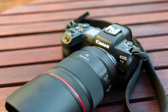Image of the Canon RF 50mm f/1.2L USM mirrorless lens on the Canon EOS R5