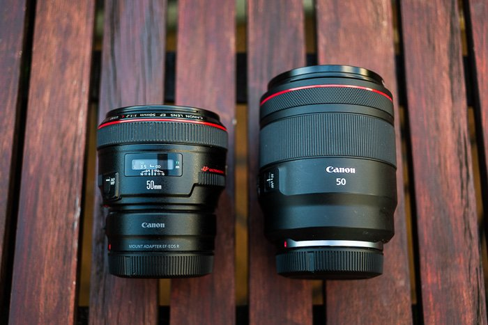 Image comparing the sizes of the RF 50mm f/1.2L and EF 50mm f/1.2L