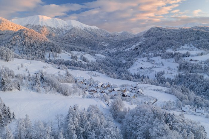 Winter landscape photography in the mountains