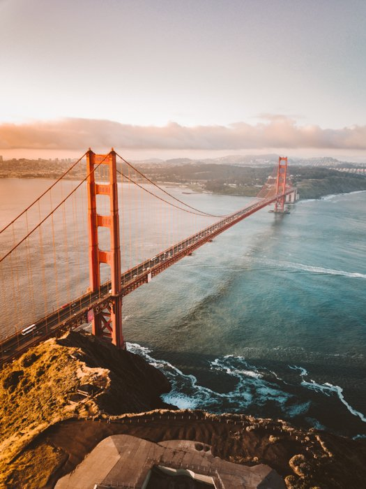 A drone photography image image of the Golden Gate Bridge
