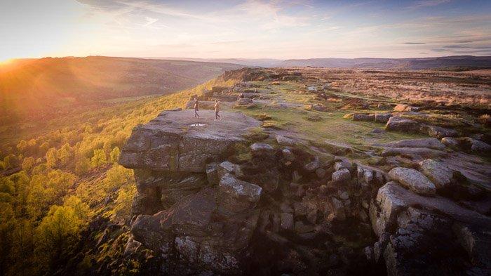 landscape drone photography shot at golden hour