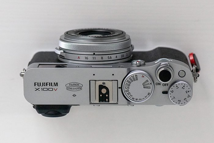 Image of the Fujifilm X100V mirrorless camera's buttons and dials.
