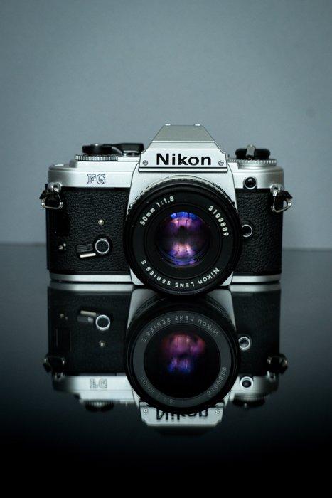 Nikon SLR camera on a reflective surface