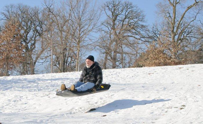 Santa sliding down a hill