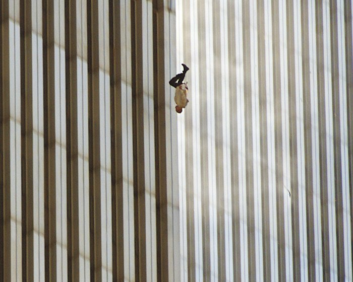 A man falling from the world trade centre