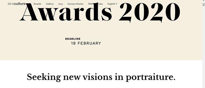 Screenshot of the LensCulture Portrait Awards website