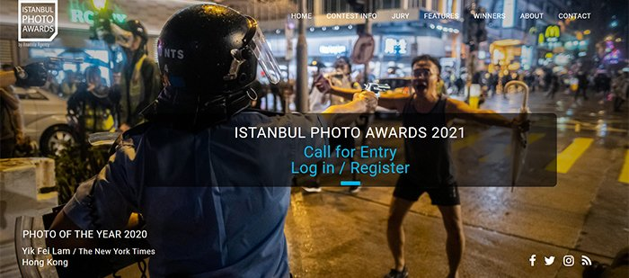 A screenshot of the Istanbul Photo Awards website