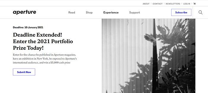 A screenshot of Aperture Portfolio Prize website