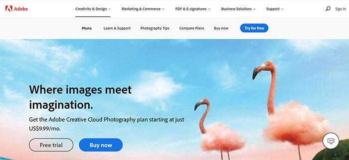 Screenshot from Adobe website