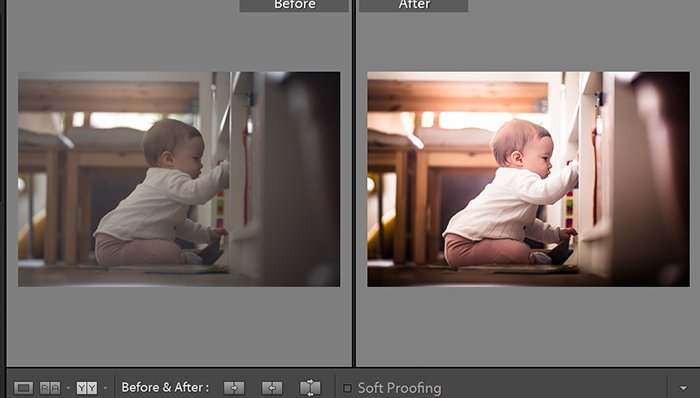 Before and after image from a photo editing software