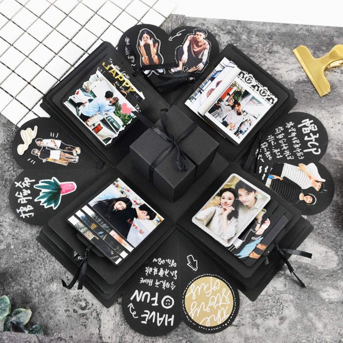 A personalised photo gift explosion box
