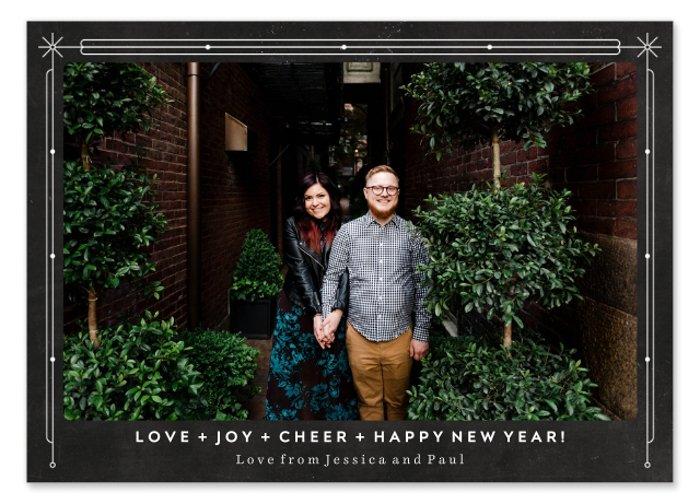 A custom photo card with a portrait of a couple