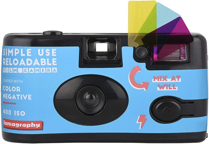 Picture of a reloadable point and shoot film photography camera.