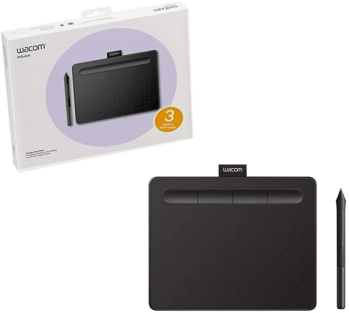 A picture of a Wacom Intuos graphic design tablet.