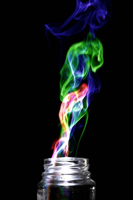 A picture of colorful smoke using Harris effect