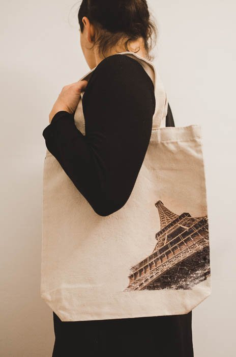 Image of a girl wearing a custom fabric with photo