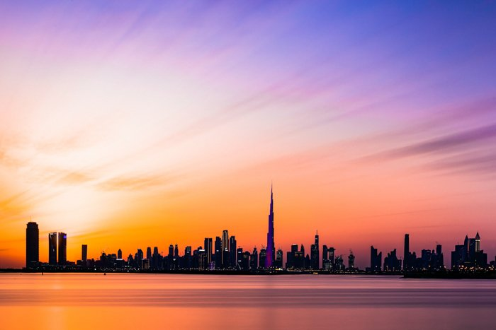 The silhouette of a city skyline