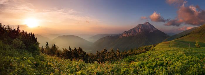 A beautiful panoramic time-lapse image of a landscape