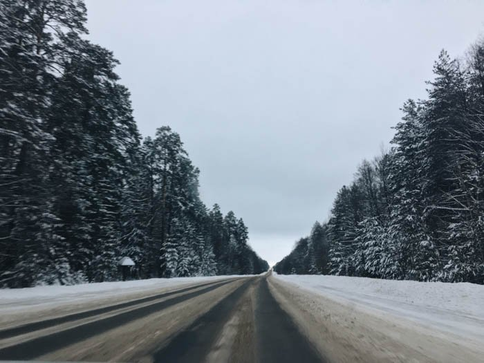 Travel photography image of a road with snow
