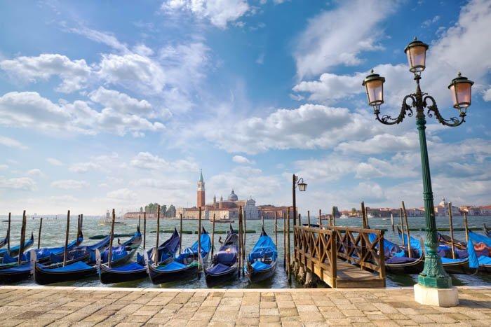 Gondolas with San Giorgio Maggiore church seen from San Marco in Venice