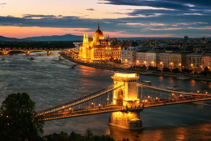 A travel cityscape photo of Budapest at sunset