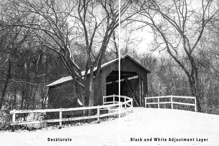covered bridge desaturated using sepia filter photoshop