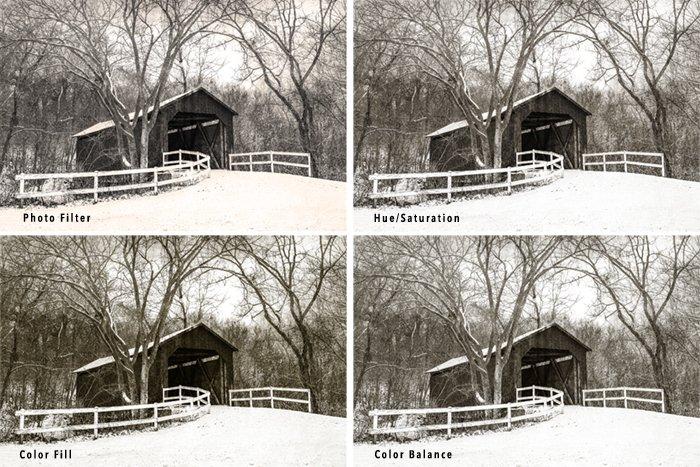 four sepia tone image grid of covered bridge